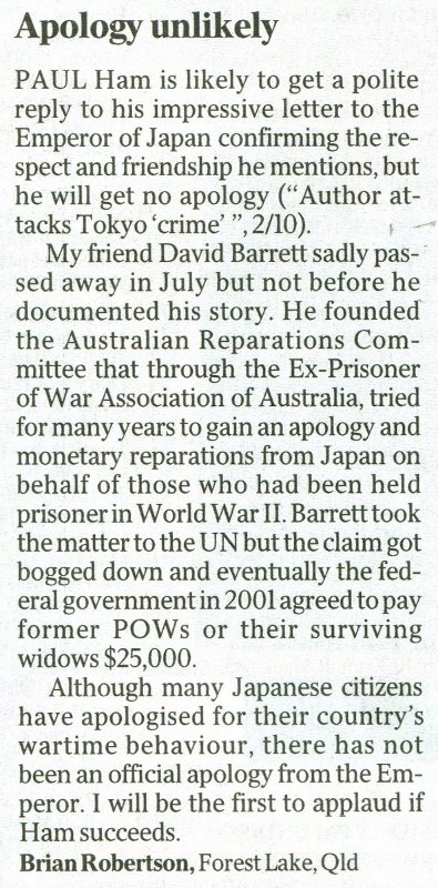 Letter in the Australian about Paul Ham's request for an Apology from the Emperor of Japan